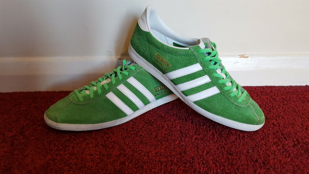 green adidas gazelles