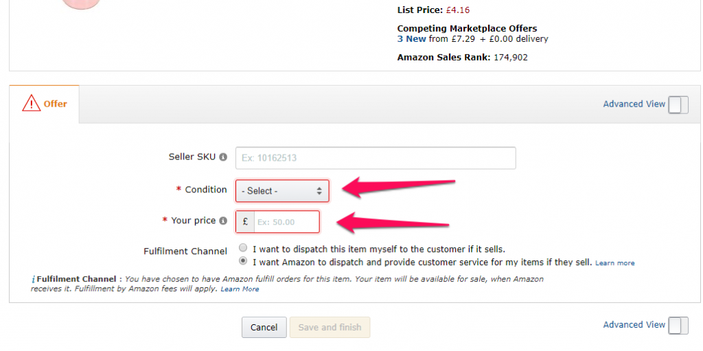 setting your condition for amazon fba