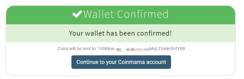wallet confirmed