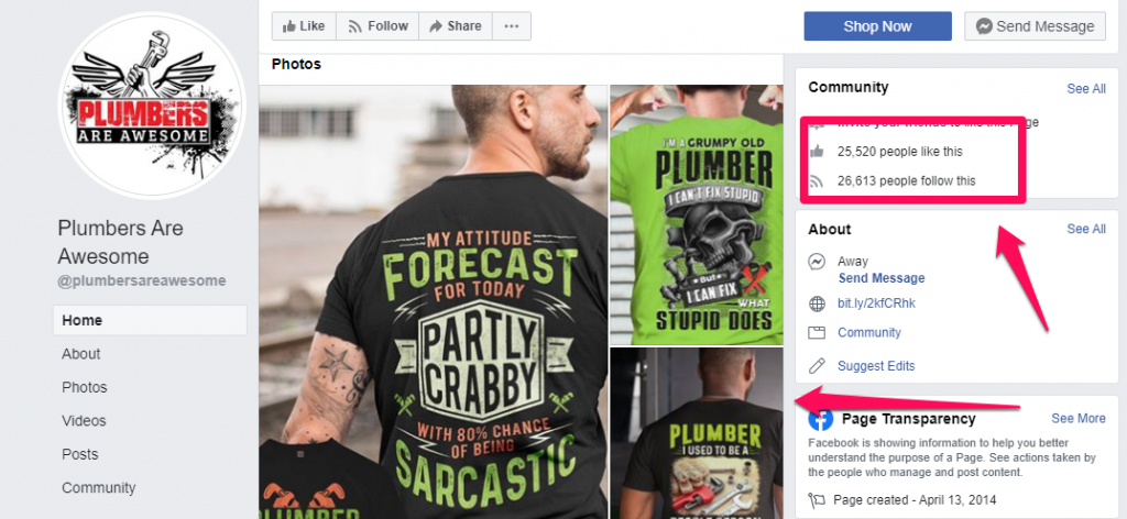 A screenshot of a plumbers facebook page