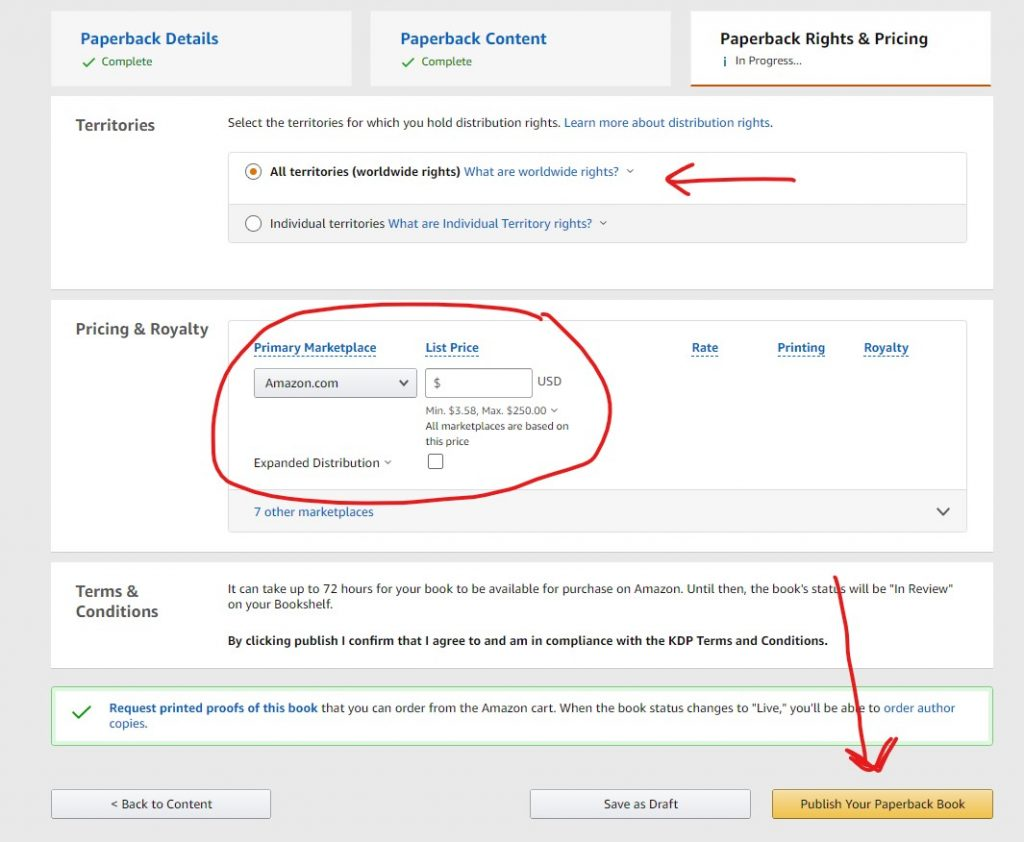 enter your pricing and click publish